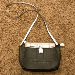 Guess black, white and tan monogram purse